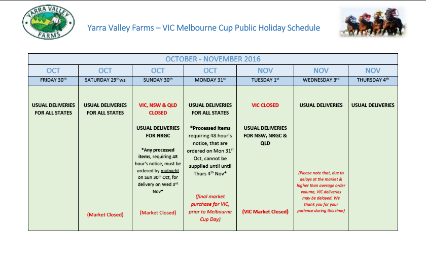 Vic Melbourne Cup schedule